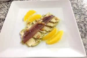 Mingo Morilla - Carpaccio carxofes taronja pinyons i sardines marinades